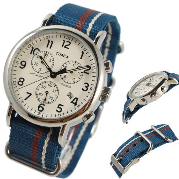 【萬年鐘錶】TIMEX INDIGLO冷光面板  三眼 日期顯示 帆布帶錶 40mm  TW2P62400