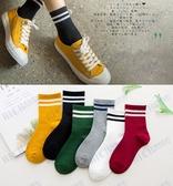 黑色襪子女條紋中筒襪日系韓版原宿學院風復古百搭秋冬款二杠長襪
