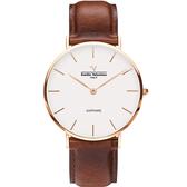 VALENTINO 范倫鐵諾 經典皮革手錶-36mm 71418B-釘白面玫瑰金咖啡帶