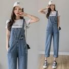 新品特價# 歐洲站刺繡卡通牛仔背帶褲女韓版寬松吊帶新款可愛學生連體褲