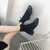 新款舒適百搭透氣英倫風粗跟后拉鏈中筒靴女靴