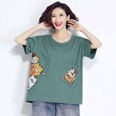 胖mm夏裝大碼女裝胖妹妹短袖t恤女2018新款韓版寬鬆半袖上衣服