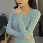 新款韓版短款V領毛衣打底衫女長袖套頭春修身顯瘦針織衫『櫻花小屋』