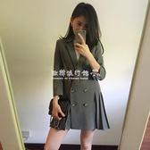 西裝外套  韓版時尚百搭顯瘦中長款七分袖百褶下擺小西裝外套女 『歐韓流行館』