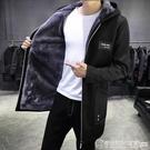 男風衣中長款冬季新款韓版潮流修身連帽披風大衣加絨加厚男士外套  圖拉斯3C百貨