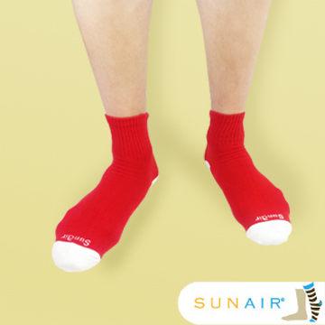 sunair 滅菌除臭襪子-自行車運動薄襪 短筒 (L25~29) (紅+白) /SA3106