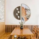 北歐餐廳裝飾畫現代簡約飯廳日式客廳壁畫貓咪半圓形玄關走廊掛畫有機玻璃品牌【獅子】