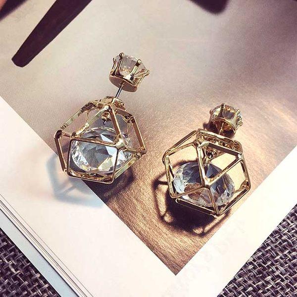 Qmigirl 水晶魔方珍珠時尚氣質長款耳環【G1915】