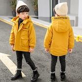 男孩羽絨外套男童外套 洋氣秋冬中長款棉衣 連帽中大童韓版外套羽絨服 加絨夾克外套兒童棉服