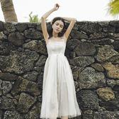 沙灘裙夏吊帶收腰網紗蕾絲仙女氣質露肩海邊度假裙 東京衣櫃