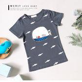 鯨魚拼布小鯊魚滿版趣味短T 上衣 短袖 竹節棉 塗鴉 哎北比童裝