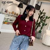 中大尺碼 V領排釦針織上衣~共三色 - 適XL~4L《 69012 》CC-GIRL