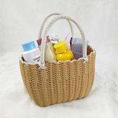 編織籃塑料編織洗澡籃購物籃買菜籃子采摘籃浴室收納筐浴筐手提籃掛雙12狂歡