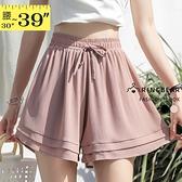 雪紡寬褲--修身遮肉鬆緊綁帶褲頭多層次下擺雪紡短褲裙(黑.粉XL-3L)-R252眼圈熊中大尺碼◎