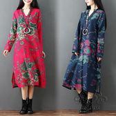 洋裝新品棉麻大尺碼女裝連身裙長袖寬鬆復古印花V領長裙【幸福家居】