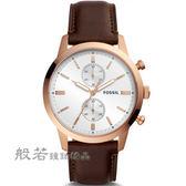 FOSSIL 悠閒步調質感品味計時腕錶/皮帶 玫瑰金/深咖啡