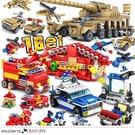 城市工程消防警察 16合1兒童迷你益智拼裝積木 玩具 16盒/組
