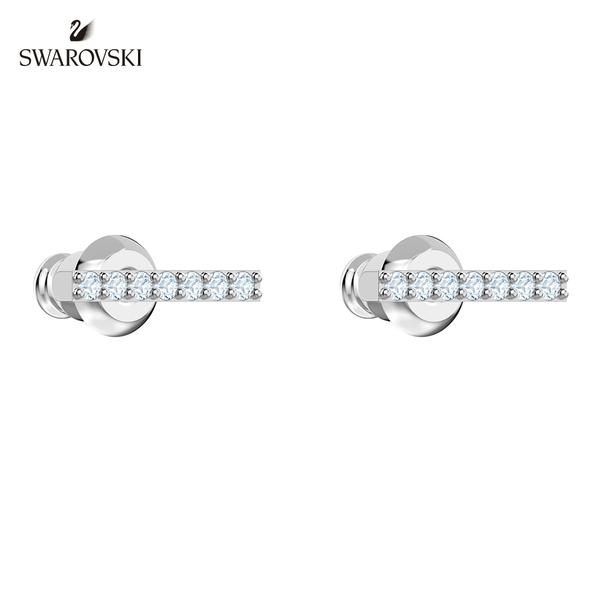 施華洛世奇 Only 白金色簡約線條穿孔耳環