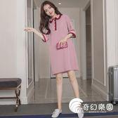 孕婦裝-夏裝新款時尚拼色翻領中長款T恤裙連身裙女上衣潮-奇幻樂園