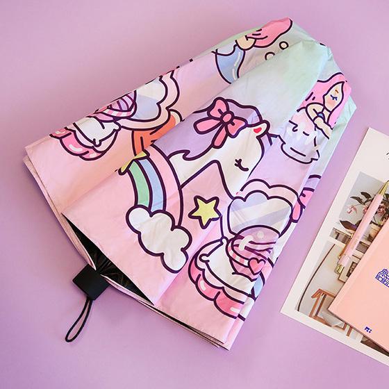 milkjoy棒棒女孩永恒少女心3折黑膠晴雨傘可愛美人魚獨角獸遮陽傘  韓語空間