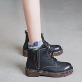 馬丁靴女短靴復古秋鞋英倫學院風女靴繫帶粗跟平底靴子冬 奇思妙想屋