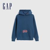 Gap男裝 Logo活力亮色款連帽休閒上衣 627573-暗海藍