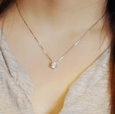 同款s925純銀單鑽項鏈女正韓時尚簡約氣質閃鑽鎖骨鏈七夕禮物