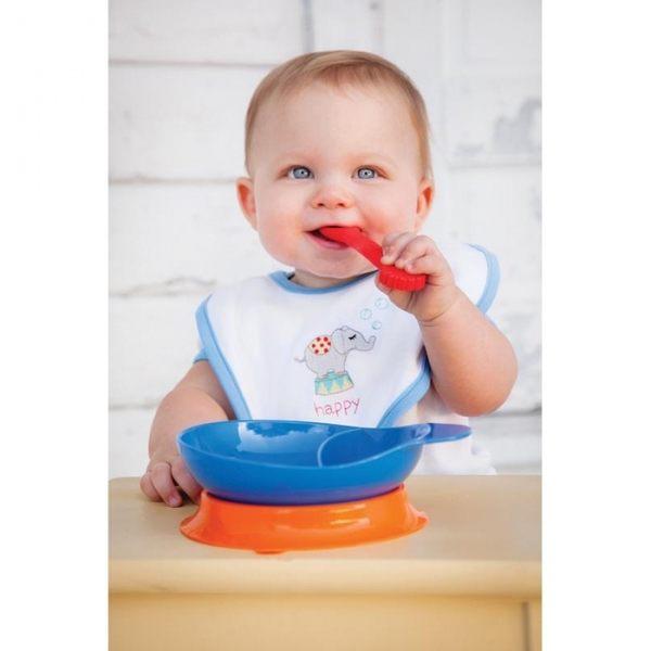 餐具/餐盤 美國Elegant Baby 矽膠餐具組 紅藍橘 / 紅藍綠 / 粉 / 藍綠 四色