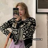 韓國毛衣女外穿復古菱形圖案針織開衫秋冬寬松慵懶風長袖氣質外套女【居享優品】