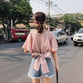 VK精品服飾 韓國風露背雪紡衫收腰短款蝴蝶結露臍短袖上衣