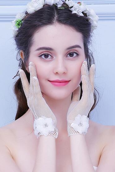 新娘婚紗手套蕾絲紅色白色結婚手紗手套