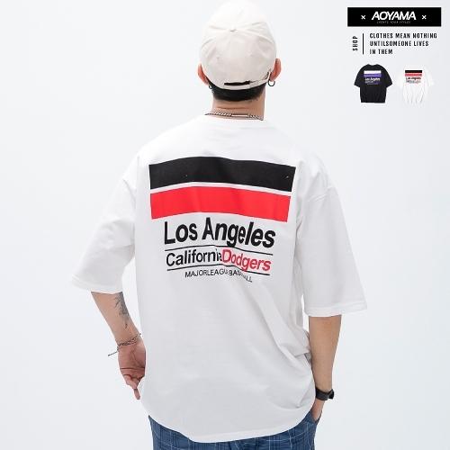 短袖 Los Angeles 雙色印花 潮流落肩短T【PC8271】oversize 情侶 街頭 青山