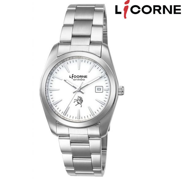 LICORNE 簡單白面夜光針數字鋼帶女錶x31mm・日期 藍寶石水晶玻璃 母親節禮物|名人鐘錶高雄門市