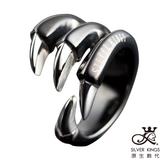 原生飾代SilverKings-舞爪之二-316L白鋼戒指(黑)