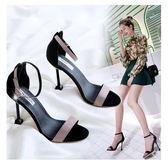 韓版百搭10cm高跟鞋子性感細跟網紅一字扣露趾涼鞋  米菲良品