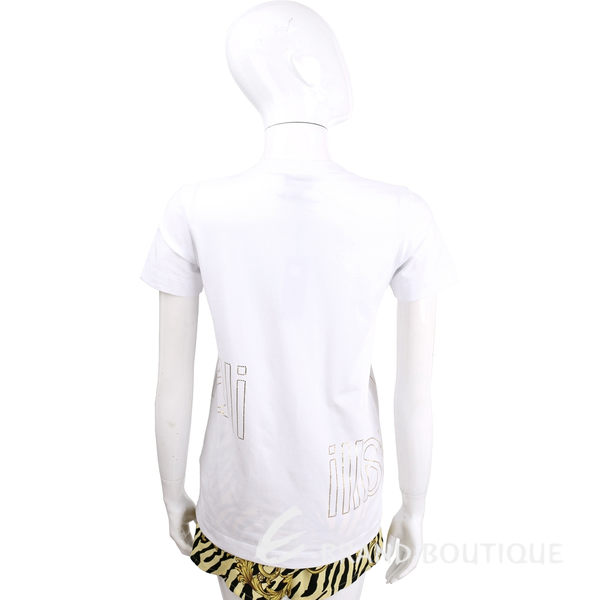 Just Cavalli 白色人魚珊瑚圖騰V領短袖T恤 1620496-20