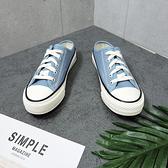 X-INGCHI 女款藍色帆布穆勒鞋-NO.X0171