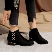 磨砂短靴女靴子2019新款秋冬季矮跟馬丁靴女時尚百搭黑色平底裸靴
