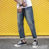 簡約百搭休閒褲 貓須復古洗水牛仔長褲 韓版寬鬆小直腳牛仔褲 概念3C旗艦店