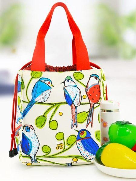 618大促 愛優活抽繩飯盒袋子帶飯包便當包手提包防水帆布便當袋飯盒包大號