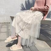 紗裙半身裙女秋冬高腰中長款不規則白色仙女網紗顯瘦蛋糕裙配毛衣 伊蘿