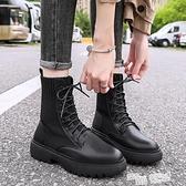 顯腳小馬丁靴女英倫風夏季薄款針織襪靴百搭厚底春秋單靴短靴子潮 夏季狂歡