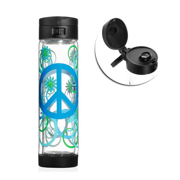 【限量限定款】 Glasstic │ 安全防護玻璃水瓶 彩繪款 470ml  (PEAC 掀蓋黑)
