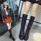 韓版高筒靴子女2018冬新款膝上靴長筒靴...