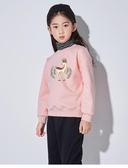 兒童長袖 女童加絨衛衣兒童紅色韓版洋氣加厚高領潮衣保暖中童女大童上衣冬