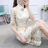 旗袍女改良版蕾絲少女修身顯瘦中長款小香風小洋裝