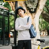 長袖T恤-條紋秋季時尚休閒圓領男上衣2色73pr35[巴黎精品]