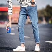 男直筒牛仔褲 膝蓋破洞男韓版潮流百搭時尚九分褲《印象精品》t690