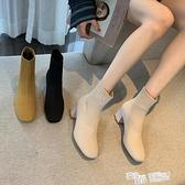靴子女2021新款網紅馬丁靴女彈力瘦瘦鞋方頭粗跟襪子靴高跟短靴潮 夏季新品