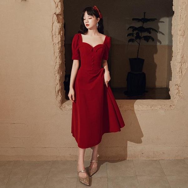 婚紗禮服 絲絨敬酒服新娘2020新款酒紅色結婚顯瘦回門訂婚宴會小禮服連衣裙